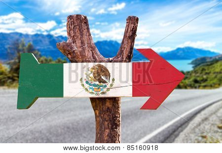 Mexico Flag sign with road background