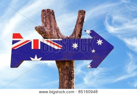 Australia Flag sign with sky background
