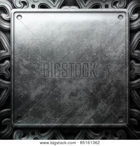 Iron metal plate with ornamental pattern