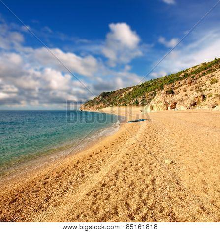 The beautiful beach of Milos on the Lefkada island, in Greece