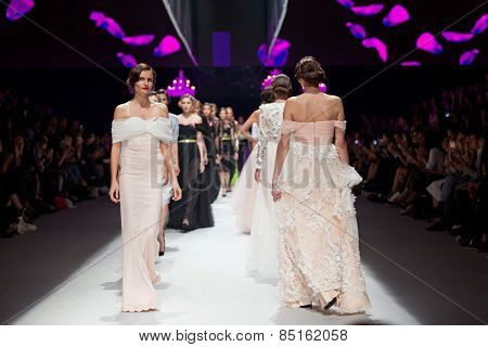 ZAGREB, CROATIA - OCTOBER 18, 2014: Fashion models wear clothes designed by Envy Room on the 'Fashion.hr' fashion show