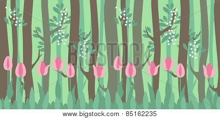 Seamless horizontal pattern with tulips and trees in spring forest