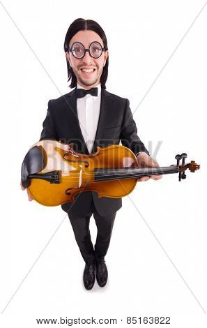 Funny man with violin isolated on white