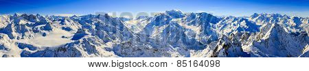 Panorama of Snow Mountain Range Landscape with Blue Sky at Mt Fort Peak Alps Region Switzerland