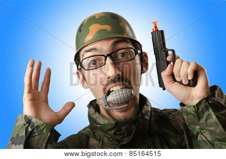Funny soldier in humour concept