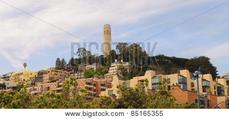 Panoramic cityscape of Coit tower and environs in San Francisco
