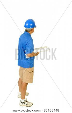 older contractor with building plans under his arm, isolated on white