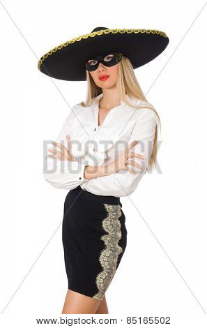 Woman wearing sombrero isolated on white