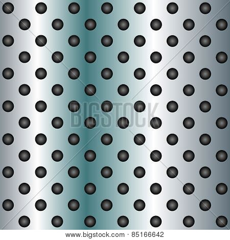 Concept conceptual blue abstract metal stainless steel aluminum perforated pattern texture mesh background as metaphor to industrial, abstract, technology, grid, silver, grate, spot, grille surface