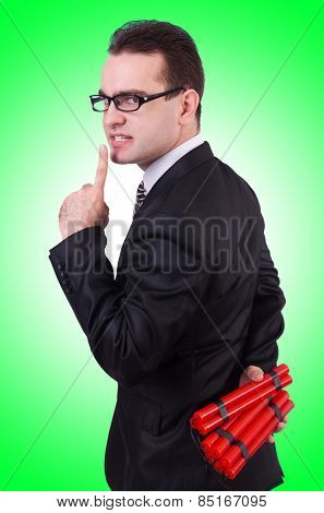 Businessman with dynamite isolated on white