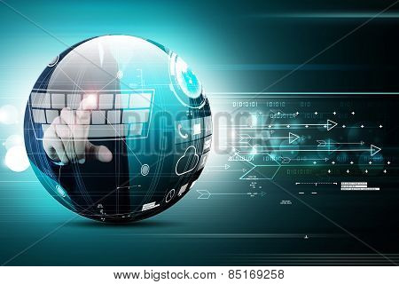 Digital globe in color background