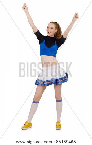 Young nice cheerleader isolated on white