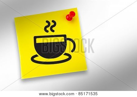 Coffee cup graphic against yellow pinned adhesive note