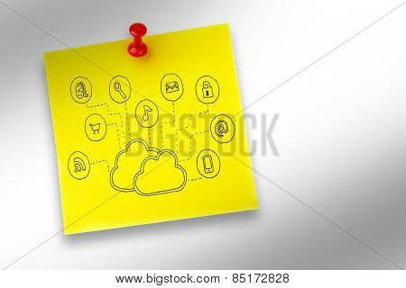 Cloud computing doodle against pinned adhesive note