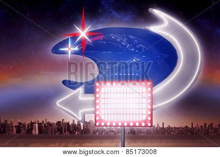 Neon sign against aurora in night sky