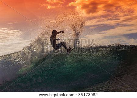 Surfer on Amazing Wave
