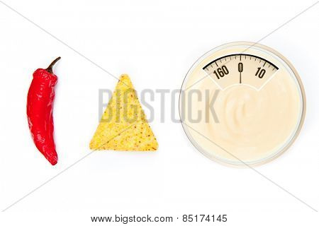 weighing scales against bowl of dip nacho and pepper side by side