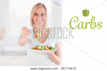 The word carbs against woman offering salad