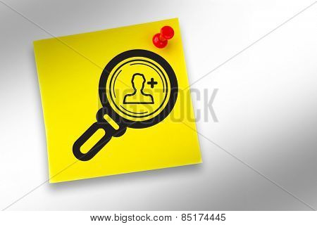Find friend graphic against yellow pinned adhesive note