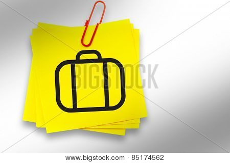 Briefcase graphic against sticky note with red paperclip