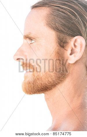Portrait of attractive man Isolated on white background.