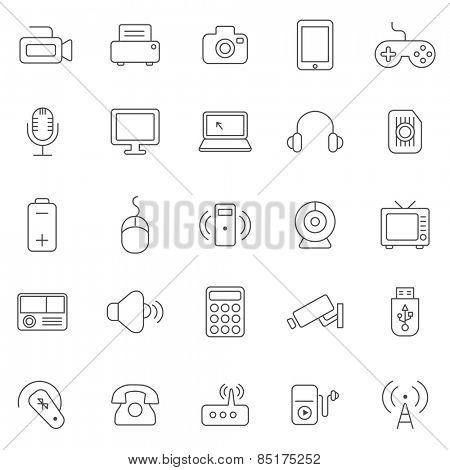 Device line icons set.Vector