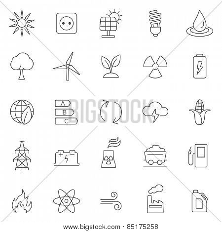 Energy line icons set.Vector