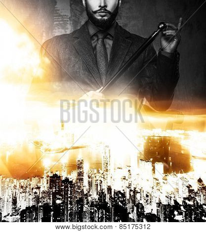 Politician over modern megapolis double exposure
