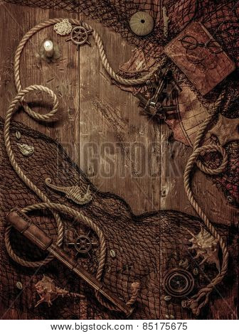 Sea concept on a wooden table background