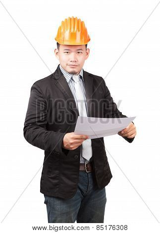 Young Asian Wearing Safety Helmet Working Engineering Man Holding Project Paper Work Isolated White