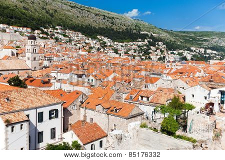 DUBROVNIK, CROATIA - MAY 26, 2014: View on Old city rooftops and Srdj hill in the background.