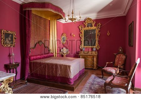 DUBROVNIK, CROATIA - MAY 27, 2014: Bedroom in the Rector's palace museum. The majority of the halls have styled furniture so as to recreate the original atmosphere of these rooms.