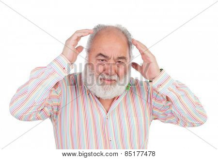 Worried elderly man crying isolated on a white background