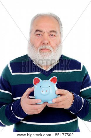 Senior man with white beard and a blue moneybox isolated on background