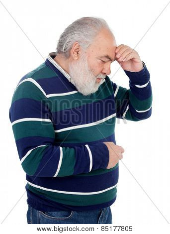 Elderly man with a gesture of having forgotten something isolated on white