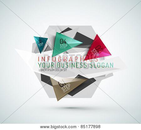 Triangle shape modern paper infographics. Minimal design