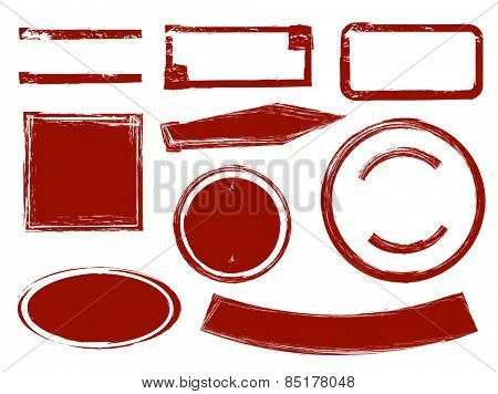 Set of blank red ink stamp templates. Vector illustration all on white background.