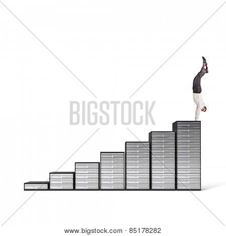 acrobat businessman on server 3d stair