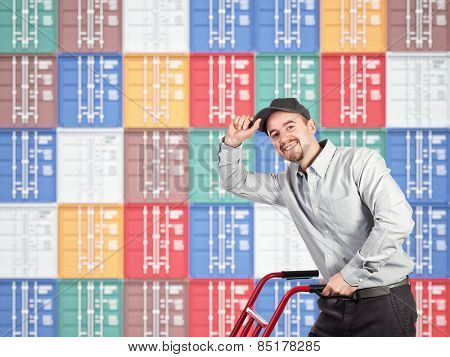 3d image of colorful container and delivery man