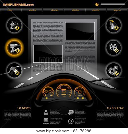 Black automobile Service Website design template with dashboard, night road, service and repair related icons. Vector illustration