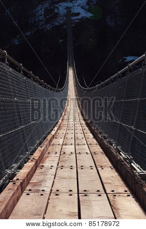 Suspension bridge over the valley
