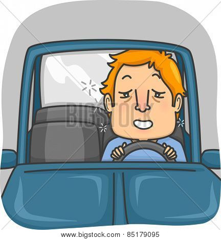 Illustration of a Man Driving a Car While Drunk
