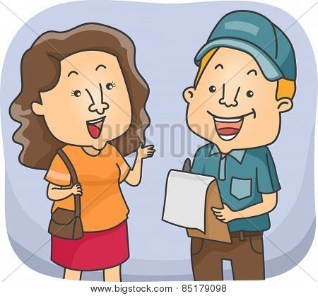Illustration of a Girl Talking to a Man Conducting Surveys