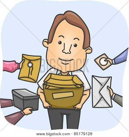 Illustration of a Messenger Overwhelmed by Parcels