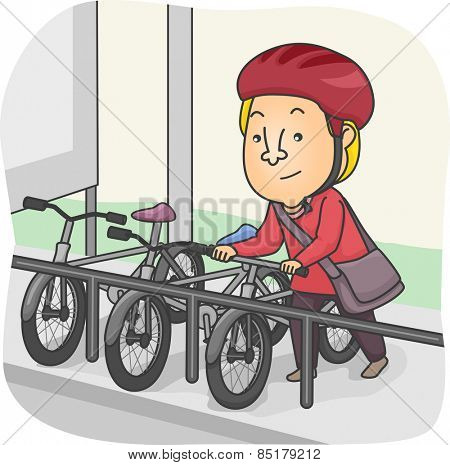 Illustration of a Man Parking His Bicycle in the Designated Parking Lot