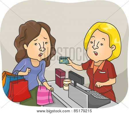 Illustration of a Woman on a Shopping Spree Having Her Credit Card Declined