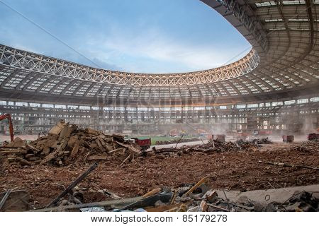 MOSCOW, RUSSIA - JUNE 6, 2014: Reconstruction of Luzhniki Stadium for Football World Cup 2018