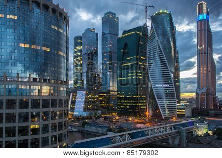 MOSCOW, RUSSIA - MAY 24, 2014: Cityscape of skyscrapers of Moscow City business complex and Bagration bridge. Moscow International Business Center Moscow City includes 20 futuristic buildings