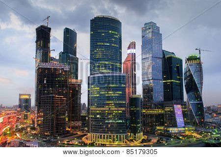 MOSCOW, RUSSIA - MAY 24, 2014: Cityscape of skyscrapers of Moscow City business complex. Moscow International Business Center Moscow City includes 20 futuristic buildings