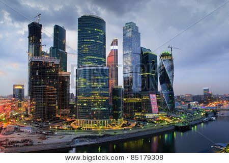 MOSCOW, RUSSIA - MAY 24, 2014: Cityscape of skyscrapers of Moscow City business complex and river. Moscow International Business Center Moscow City includes 20 futuristic buildings